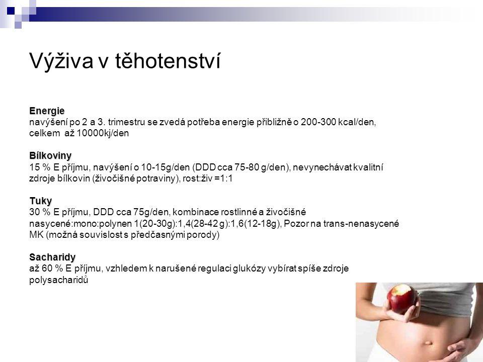 Výživa v těhotenství Energie navýšení po 2 a 3. trimestru se zvedá potřeba energie přibližně o 200-300 kcal/den, celkem až 10000kj/denBílkoviny 15 % E
