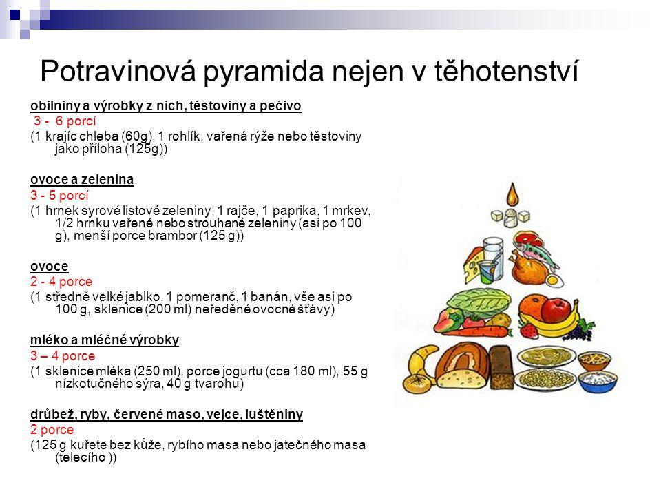 Potravinová pyramida nejen v těhotenství obilniny a výrobky z nich, těstoviny a pečivo 3 - 6 porcí (1 krajíc chleba (60g), 1 rohlík, vařená rýže nebo
