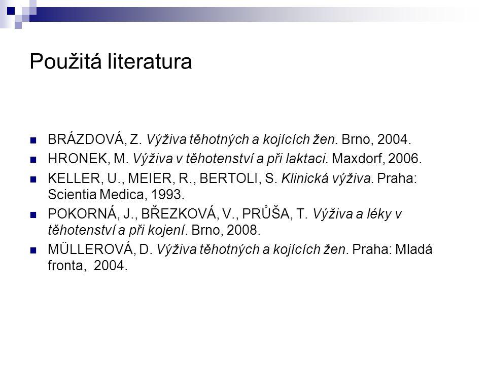 Použitá literatura BRÁZDOVÁ, Z. Výživa těhotných a kojících žen. Brno, 2004. HRONEK, M. Výživa v těhotenství a při laktaci. Maxdorf, 2006. KELLER, U.,