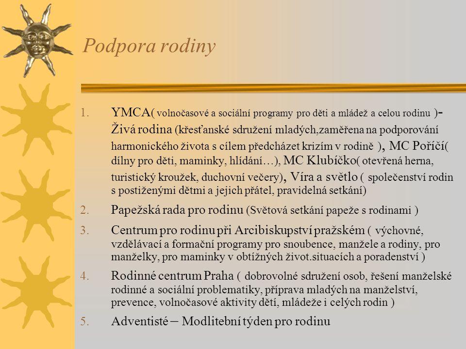 Podpora rodiny 1. YMCA ( volnočasové a sociální programy pro děti a mládež a celou rodinu ) - Živá rodina (křesťanské sdružení mladých,zaměřena na pod