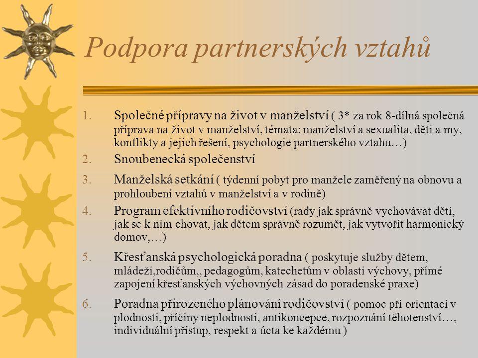 Podpora partnerských vztahů 1. Společné přípravy na život v manželství ( 3* za rok 8-dílná společná příprava na život v manželství, témata: manželství