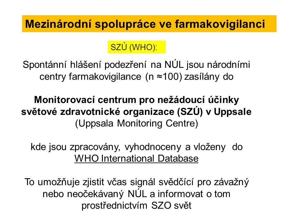 Mezinárodní spolupráce ve farmakovigilanci Spontánní hlášení podezření na NÚL jsou národními centry farmakovigilance (n ≈100) zasílány do Monitorovací