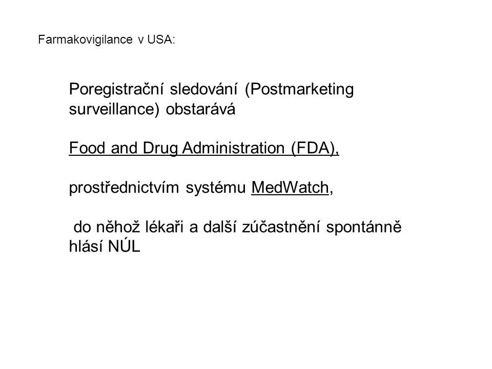 Poregistrační sledování (Postmarketing surveillance) obstarává Food and Drug Administration (FDA), prostřednictvím systému MedWatch, do něhož lékaři a