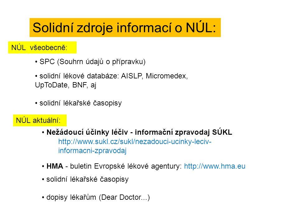 HMA - buletin Evropské lékové agentury: http://www.hma.eu SPC (Souhrn údajů o přípravku) Solidní zdroje informací o NÚL: solidní lékové databáze: AISL