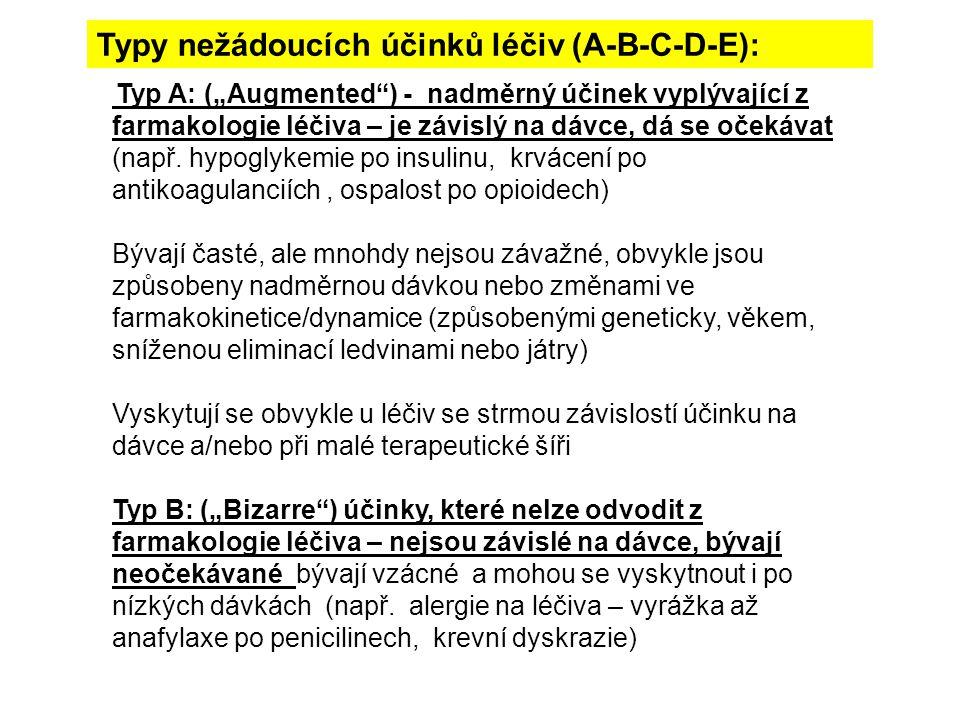 """Typ C: (""""Chronic ) NÚ při chronické aplikaci (např.vznik závislosti na hypnotika, tardivní dyskineze při chronickém podávání antipsychotik) Typ D: (""""Delayed ) Odložené NÚ (""""časovaná bomba , např."""
