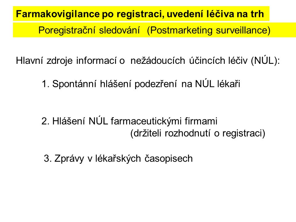 1. Spontánní hlášení podezření na NÚL lékaři Poregistrační sledování (Postmarketing surveillance) Farmakovigilance po registraci, uvedení léčiva na tr