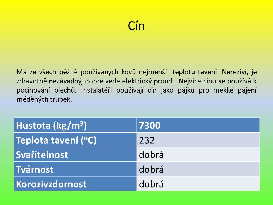 Cín Má ze všech běžně používaných kovů nejmenší teplotu tavení. Nereziví, je zdravotně nezávadný, dobře vede elektrický proud. Nejvíce cínu se používá