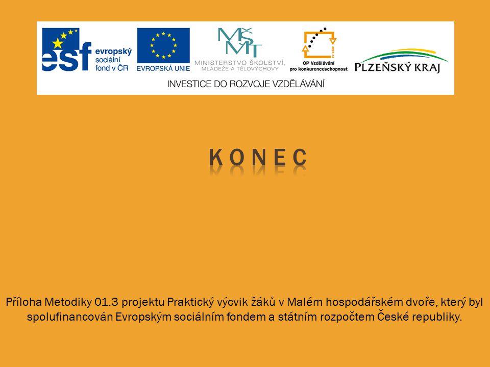 Příloha Metodiky 01.3 projektu Praktický výcvik žáků v Malém hospodářském dvoře, který byl spolufinancován Evropským sociálním fondem a státním rozpoč