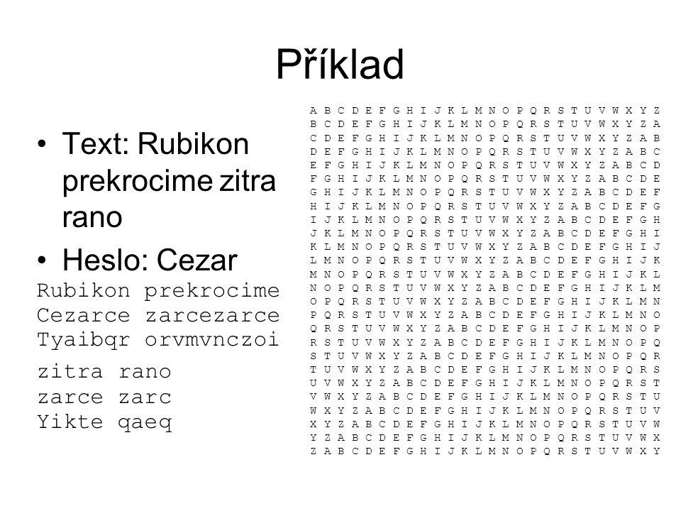 Příklad Text: Rubikon prekrocime zitra rano Heslo: Cezar Rubikon prekrocime Cezarce zarcezarce Tyaibqr orvmvnczoi zitra rano zarce zarc Yikte qaeq A B