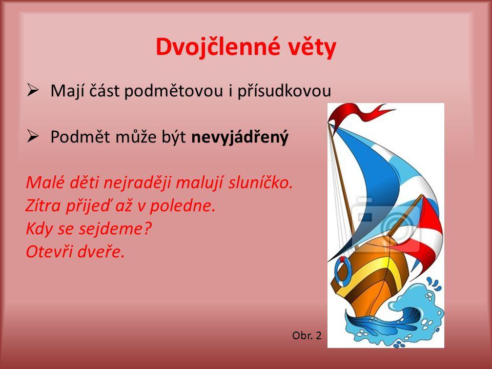 Druhy dvojčlenných vět a)s přísudkem slovesným Čteme noviny.