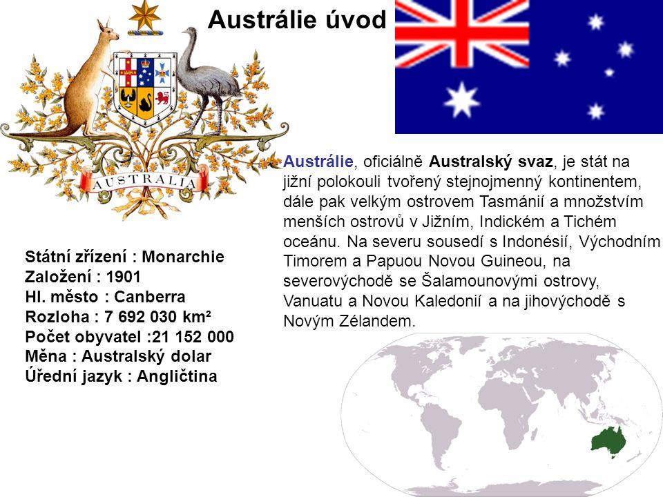 Austrálie sestává z šesti států a dvou pevninských a několika malých ostrovních teritorií.