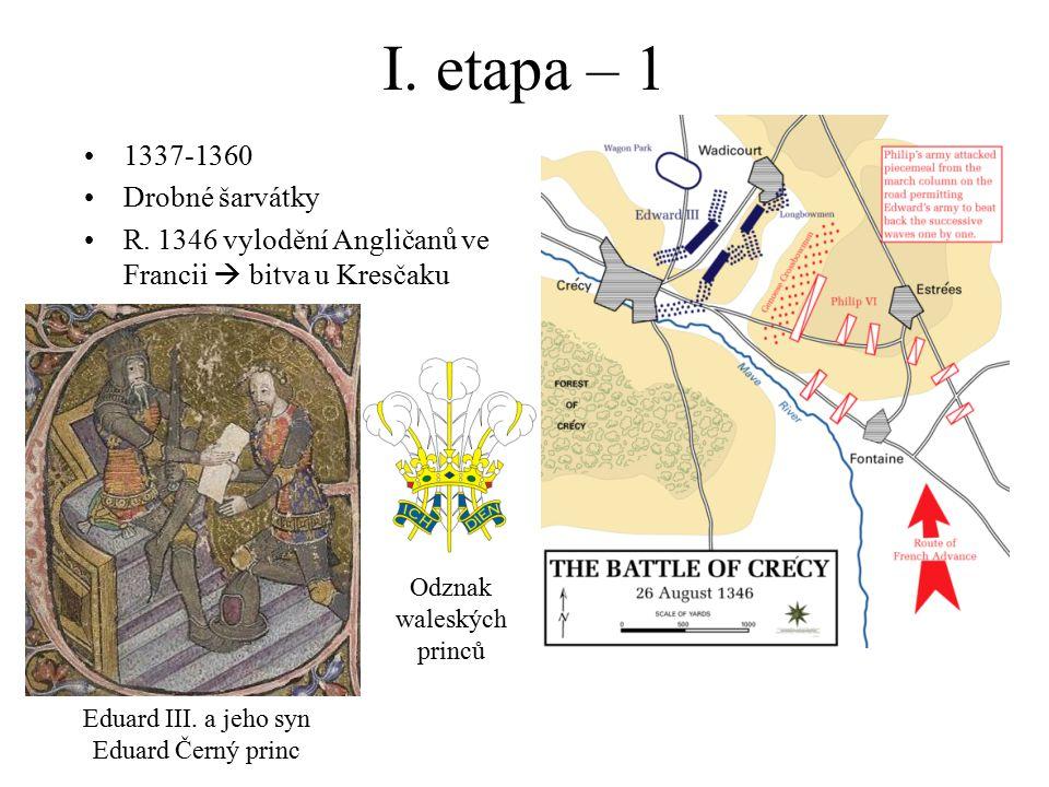 I. etapa – 1 1337-1360 Drobné šarvátky R. 1346 vylodění Angličanů ve Francii  bitva u Kresčaku Eduard III. a jeho syn Eduard Černý princ Odznak wales