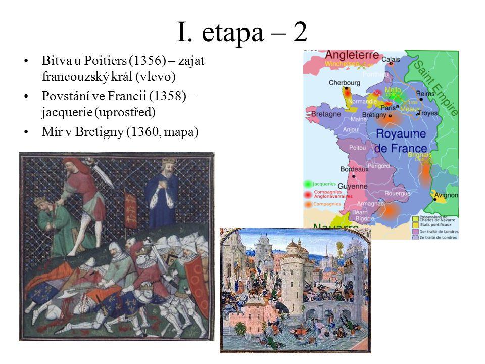 I. etapa – 2 Bitva u Poitiers (1356) – zajat francouzský král (vlevo) Povstání ve Francii (1358) – jacquerie (uprostřed) Mír v Bretigny (1360, mapa)
