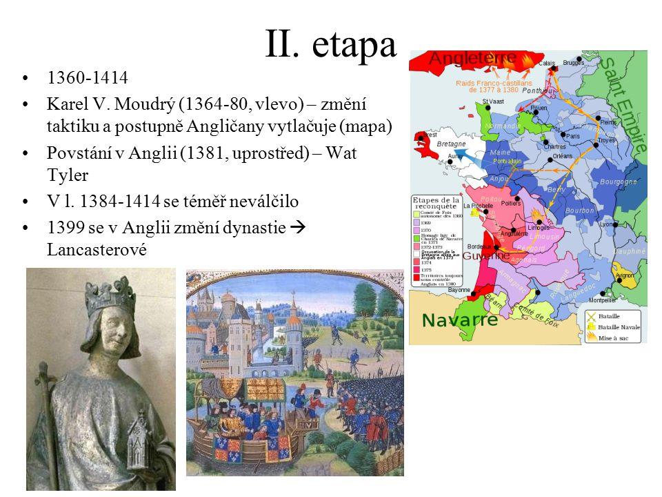 II. etapa 1360-1414 Karel V. Moudrý (1364-80, vlevo) – změní taktiku a postupně Angličany vytlačuje (mapa) Povstání v Anglii (1381, uprostřed) – Wat T