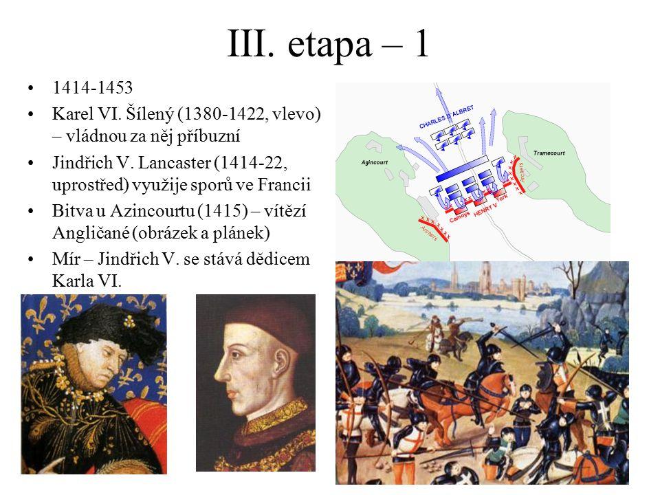 III. etapa – 1 1414-1453 Karel VI. Šílený (1380-1422, vlevo) – vládnou za něj příbuzní Jindřich V. Lancaster (1414-22, uprostřed) využije sporů ve Fra