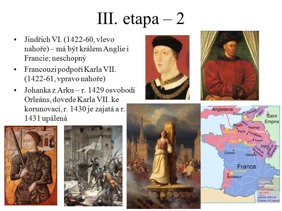 III. etapa – 2 Jindřich VI. (1422-60, vlevo nahoře) – má být králem Anglie i Francie; neschopný Francouzi podpoří Karla VII. (1422-61, vpravo nahoře)