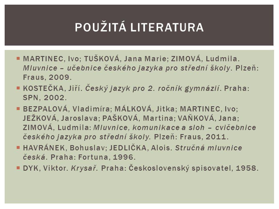  MARTINEC, Ivo; TUŠKOVÁ, Jana Marie; ZIMOVÁ, Ludmila.