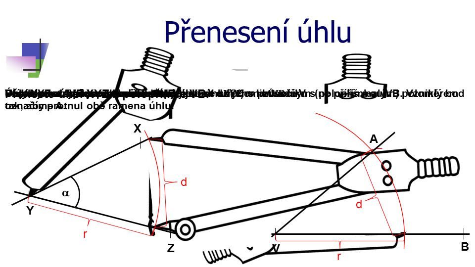 Přenesení úhlu Přeneste úhel XYZ k polopřímce VB. X Z Y  r d V B r Sestrojte oblouk se středem ve vrcholu úhlu (Y) s libovolným (ne příliš malým) pol