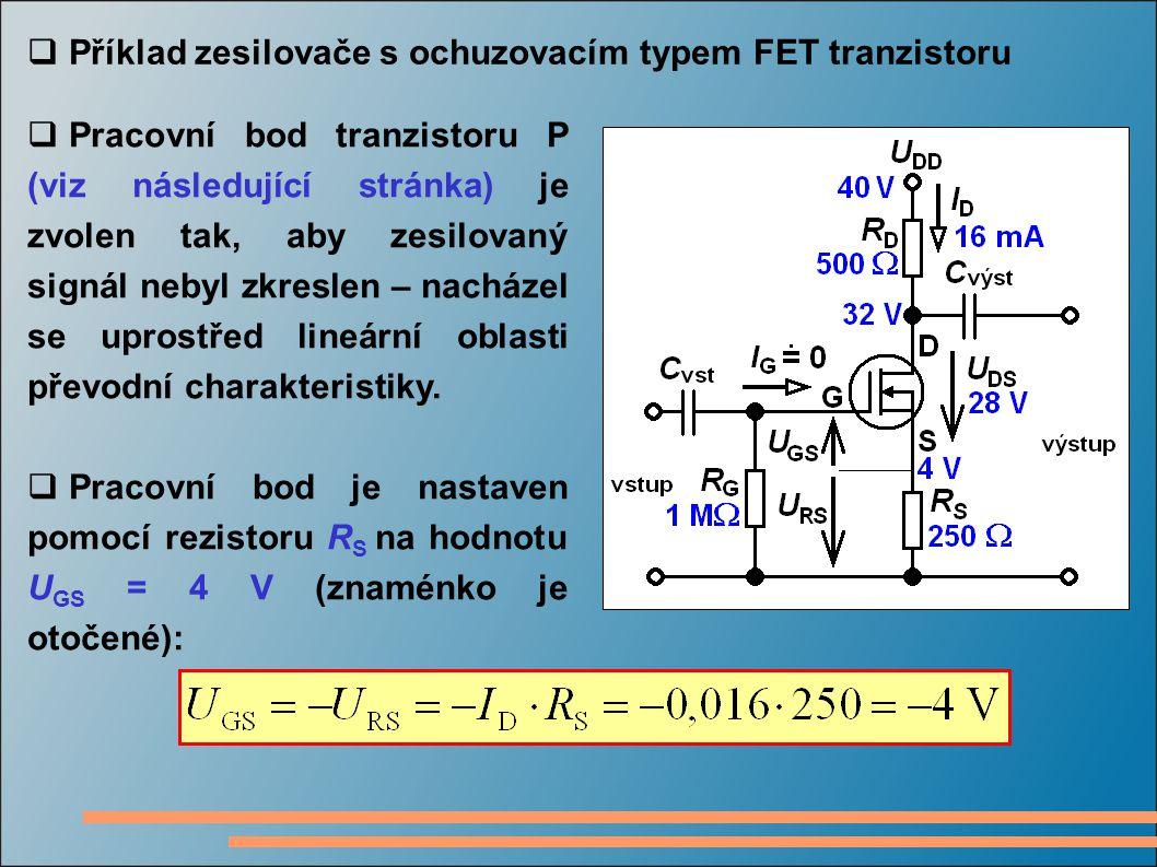  Příklad zesilovače s ochuzovacím typem FET tranzistoru  Pracovní bod tranzistoru P (viz následující stránka) je zvolen tak, aby zesilovaný signál n