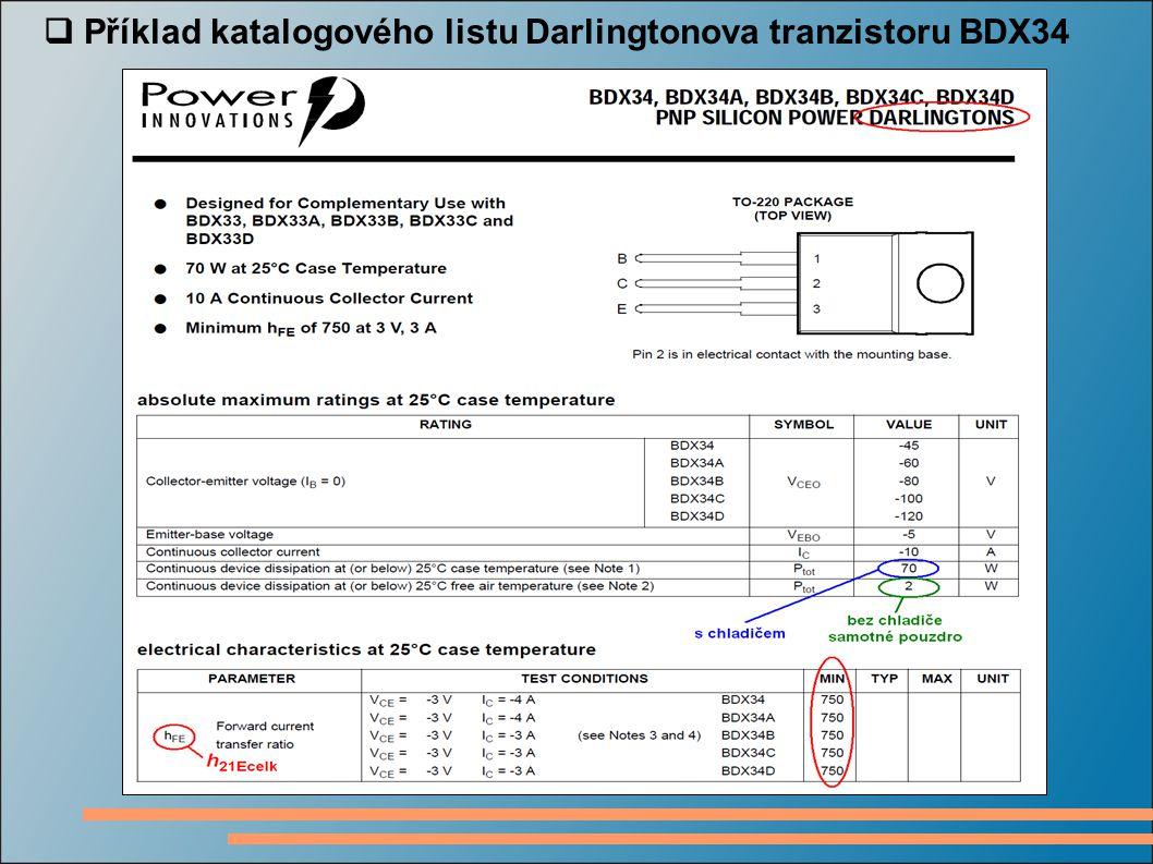  Příklad katalogového listu Darlingtonova tranzistoru BDX34
