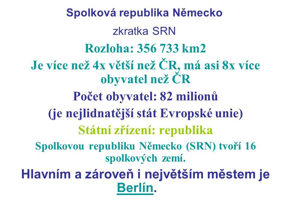 Spolková republika Německo zkratka SRN Rozloha: 356 733 km2 Je více než 4x větší než ČR, má asi 8x více obyvatel než ČR Počet obyvatel: 82 milionů (je