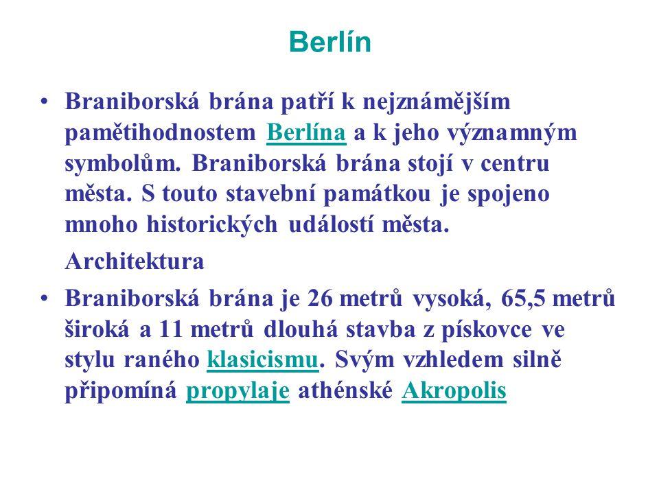 Berlín Braniborská brána patří k nejznámějším pamětihodnostem Berlína a k jeho významným symbolům. Braniborská brána stojí v centru města. S touto sta