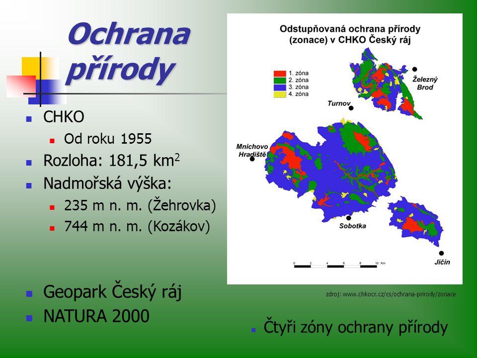Ochrana přírody zdroj: www.chkocr.cz/cs/ochrana-prirody/zonace CHKO Od roku 1955 Rozloha: 181,5 km 2 Nadmořská výška: 235 m n.