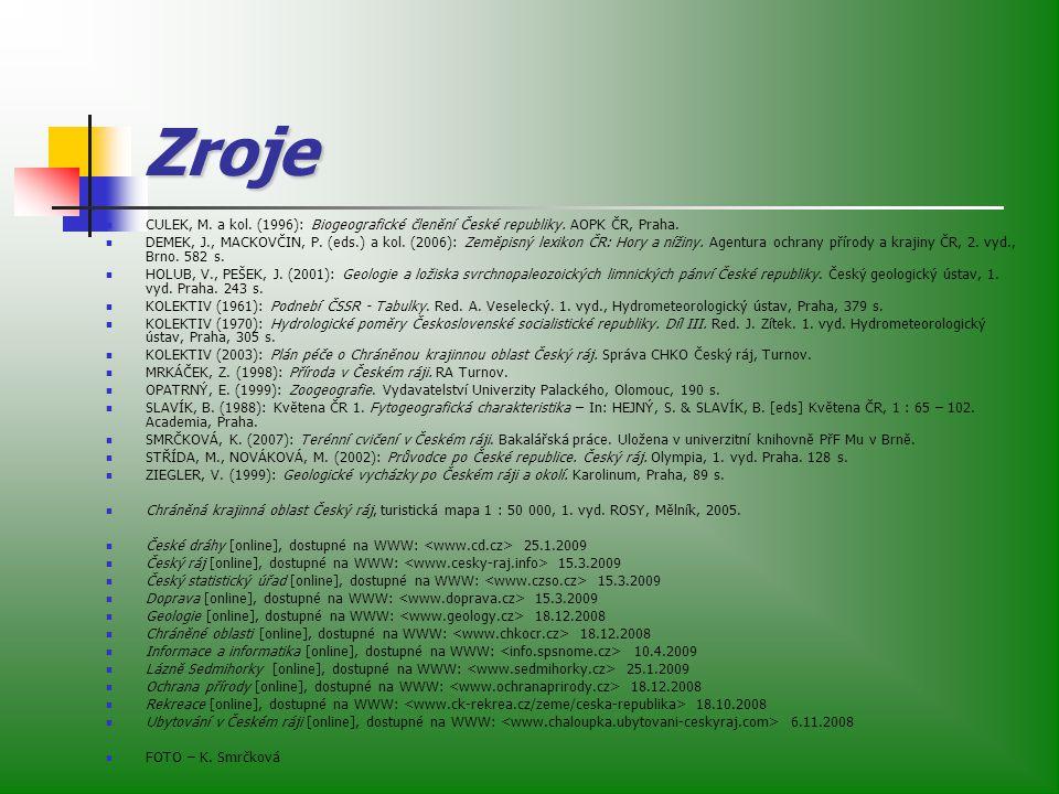 Zroje CULEK, M.a kol. (1996): Biogeografické členění České republiky.