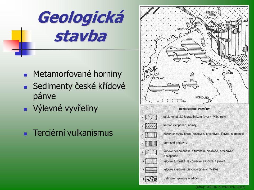 Geologická stavba (zdroj: STŘÍDA, NOVÁKOVÁ, 2002) Metamorfované horniny Sedimenty české křídové pánve Výlevné vyvřeliny Terciérní vulkanismus