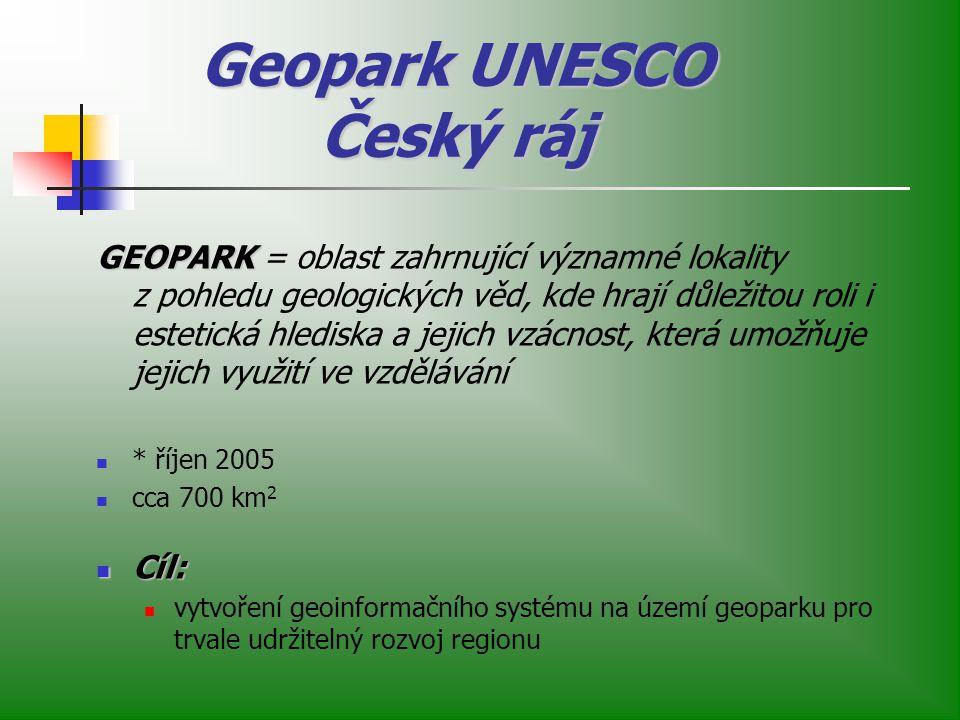 Geopark UNESCO Český ráj GEOPARK GEOPARK = oblast zahrnující významné lokality z pohledu geologických věd, kde hrají důležitou roli i estetická hlediska a jejich vzácnost, která umožňuje jejich využití ve vzdělávání * říjen 2005 cca 700 km 2 Cíl: Cíl: vytvoření geoinformačního systému na území geoparku pro trvale udržitelný rozvoj regionu