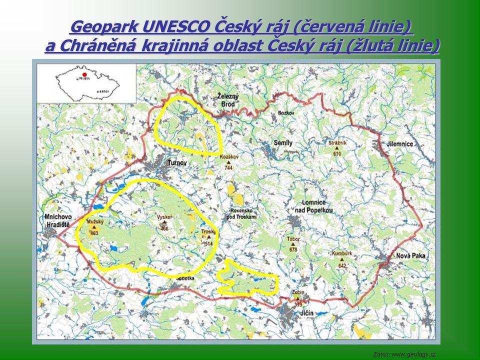 Zdroj: www.geology.cz Geopark UNESCO Český ráj (červená linie) a Chráněná krajinná oblast Český ráj (žlutá linie)