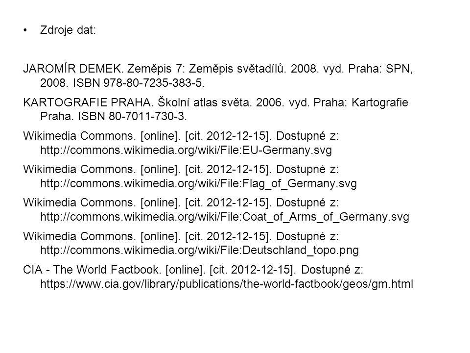 Zdroje dat: JAROMÍR DEMEK. Zeměpis 7: Zeměpis světadílů. 2008. vyd. Praha: SPN, 2008. ISBN 978-80-7235-383-5. KARTOGRAFIE PRAHA. Školní atlas světa. 2