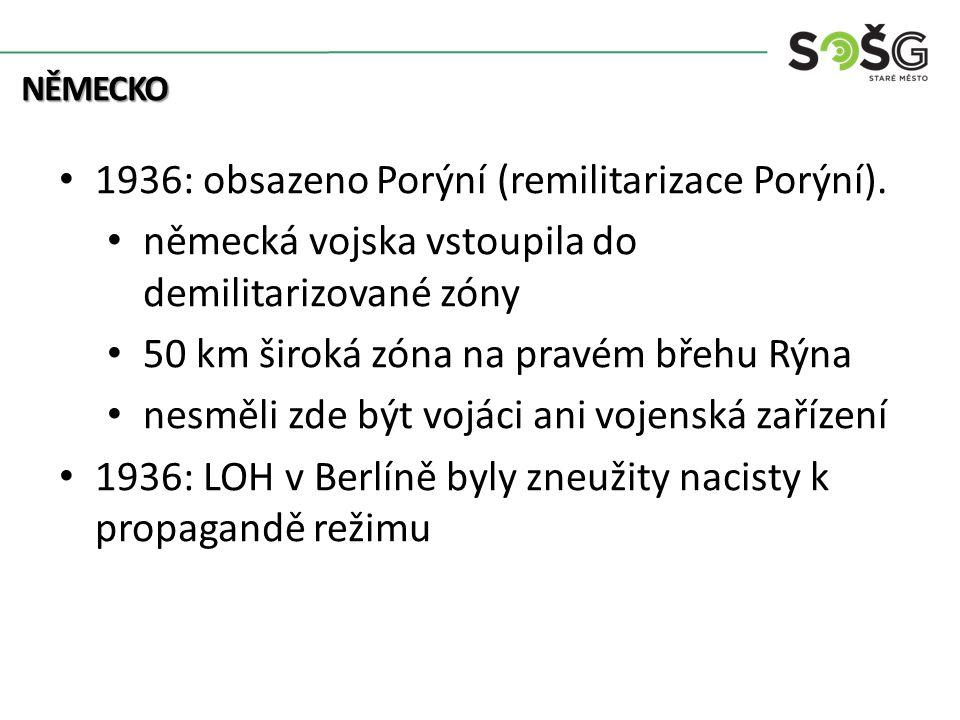 NĚMECKO 1936: obsazeno Porýní (remilitarizace Porýní).