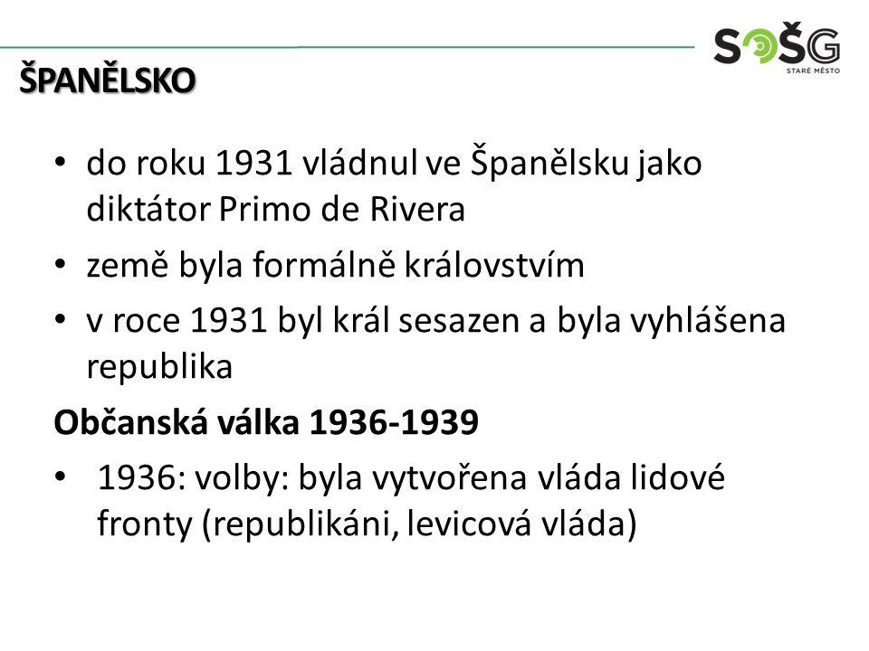 ŠPANĚLSKO do roku 1931 vládnul ve Španělsku jako diktátor Primo de Rivera země byla formálně královstvím v roce 1931 byl král sesazen a byla vyhlášena republika Občanská válka 1936-1939 1936: volby: byla vytvořena vláda lidové fronty (republikáni, levicová vláda)