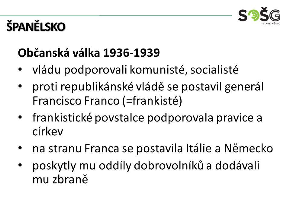ŠPANĚLSKO Občanská válka 1936-1939 vládu podporovali komunisté, socialisté proti republikánské vládě se postavil generál Francisco Franco (=frankisté) frankistické povstalce podporovala pravice a církev na stranu Franca se postavila Itálie a Německo poskytly mu oddíly dobrovolníků a dodávali mu zbraně