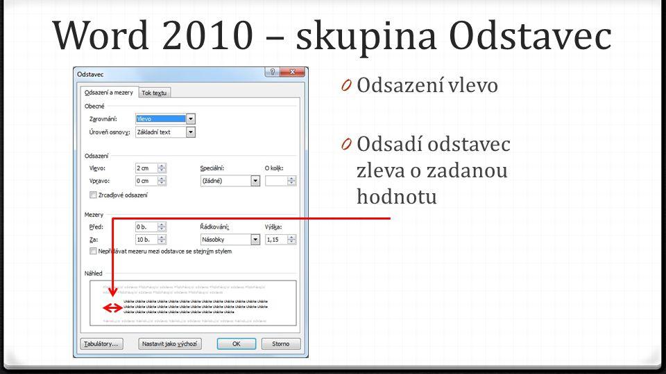 Word 2010 – skupina Odstavec 0 Odsazení vlevo 0 Odsadí odstavec zleva o zadanou hodnotu