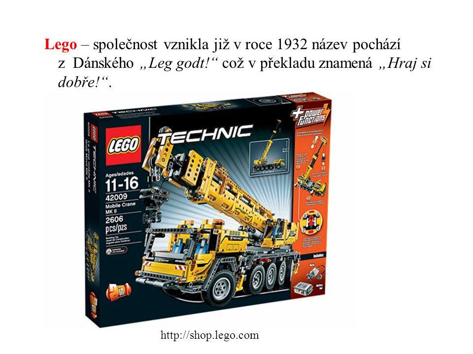 """Lego – společnost vznikla již v roce 1932 název pochází z Dánského """"Leg godt!"""" což v překladu znamená """"Hraj si dobře!"""". http://shop.lego.com"""