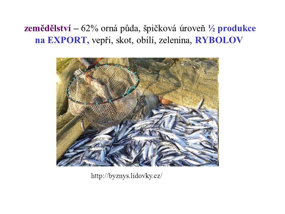 zemědělství – 62% orná půda, špičková úroveň ½ produkce na EXPORT, vepři, skot, obilí, zelenina, RYBOLOV http://byznys.lidovky.cz/