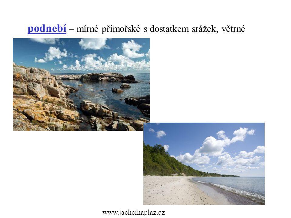 podnebí – mírné přímořské s dostatkem srážek, větrné www.jachcinaplaz.cz