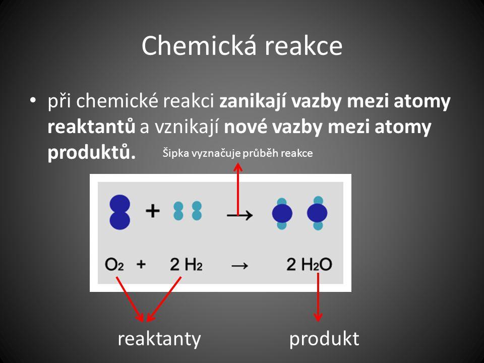 Chemická reakce při chemické reakci zanikají vazby mezi atomy reaktantů a vznikají nové vazby mezi atomy produktů. reaktantyprodukt Šipka vyznačuje pr