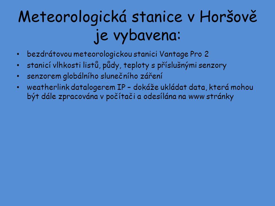 Meteorologická stanice v Horšově je vybavena: bezdrátovou meteorologickou stanici Vantage Pro 2 stanicí vlhkosti listů, půdy, teploty s příslušnými se