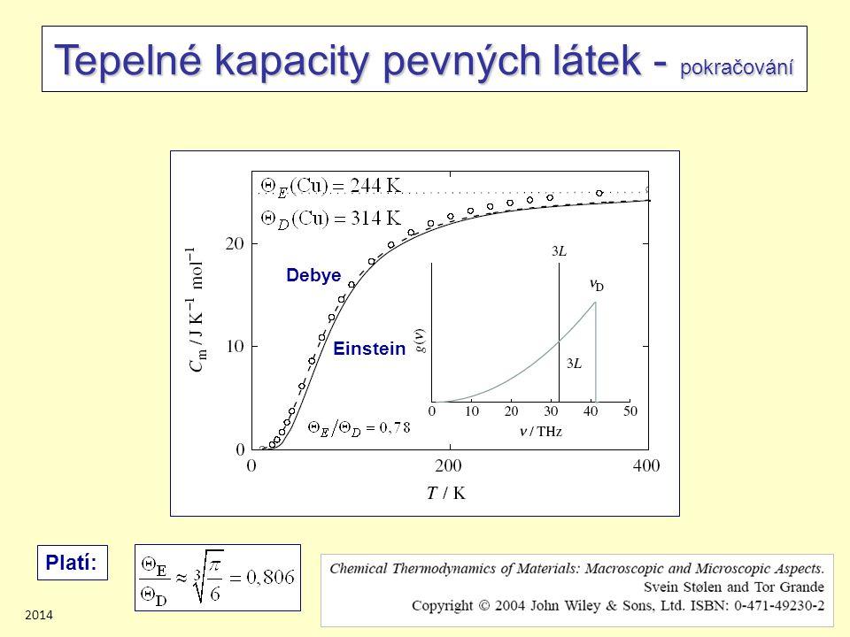 201420/45 Tepelné kapacity pevných látek - pokračování Debye Einstein Platí: