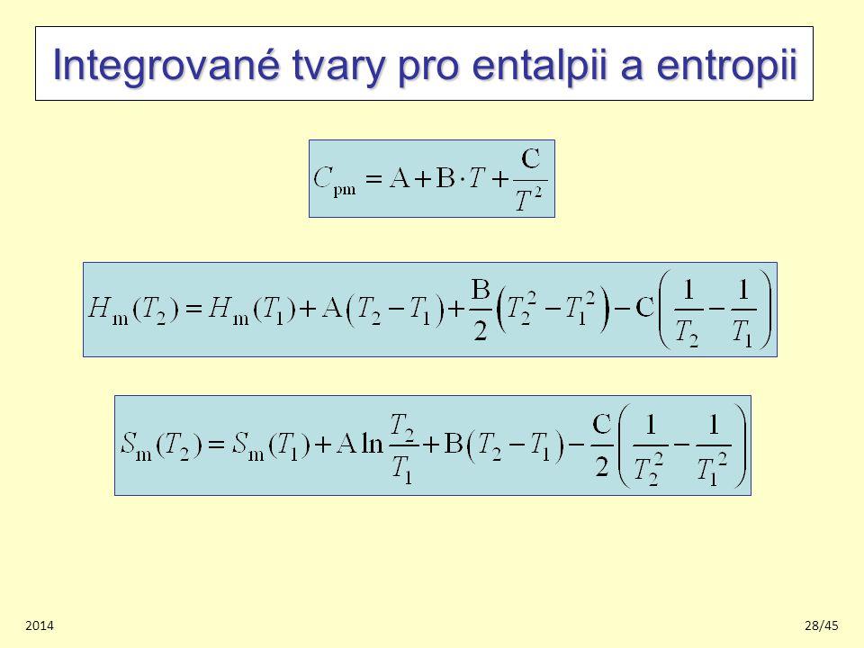 201428/45 Integrované tvary pro entalpii a entropii