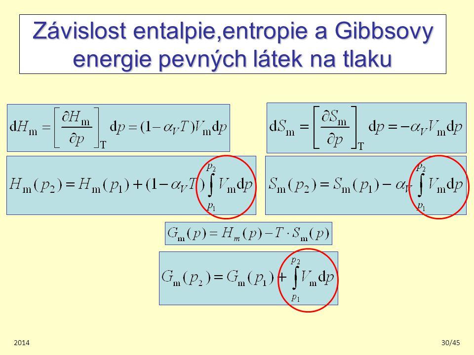 201430/45 Závislost entalpie,entropie a Gibbsovy energie pevných látek na tlaku