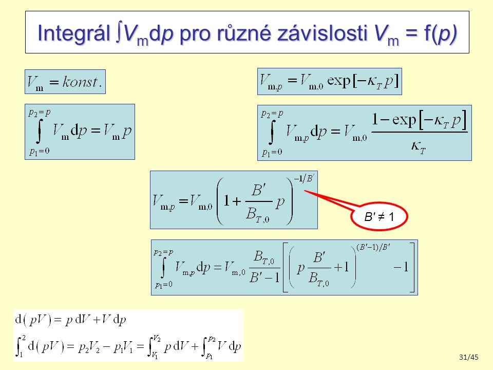 201431/45 Integrál  V m dp pro různé závislosti V m = f(p) B ≠ 1