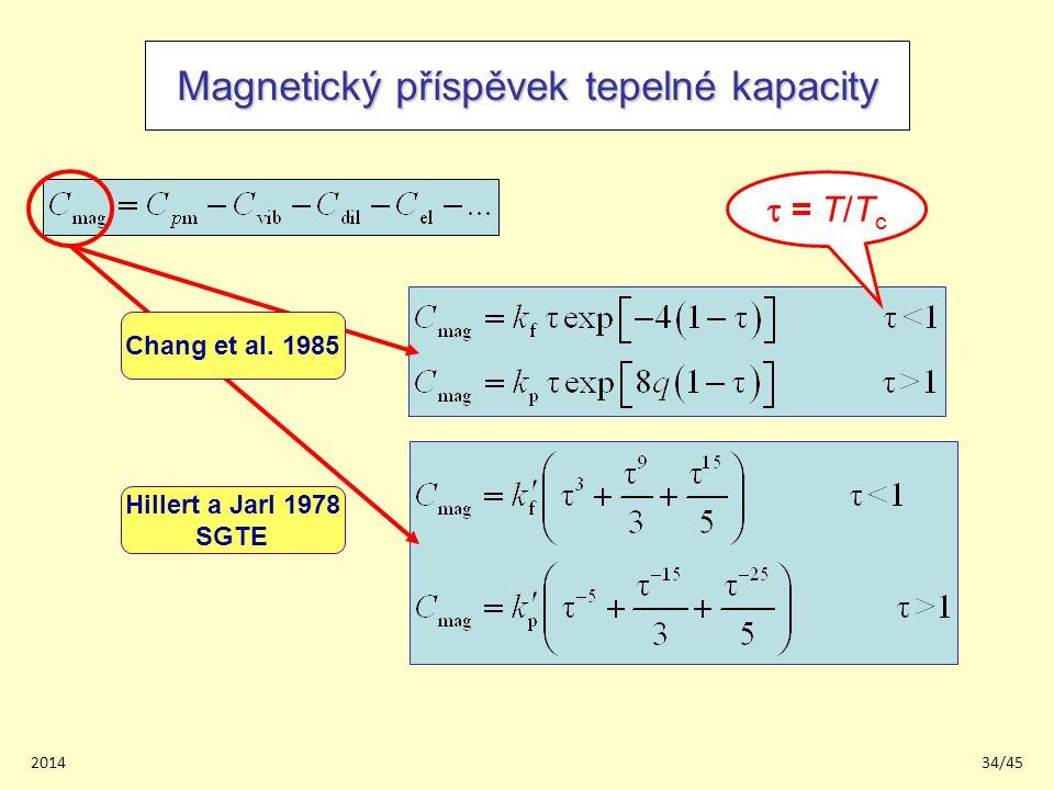 201434/45 Magnetický příspěvek tepelné kapacity Hillert a Jarl 1978 SGTE  = T/T c Chang et al.