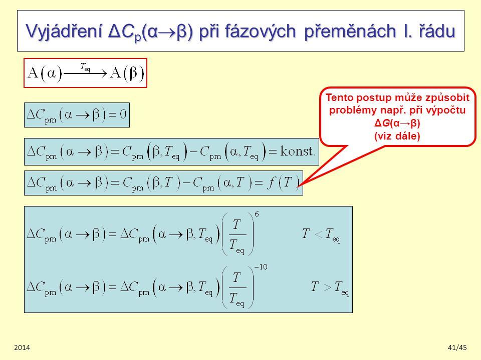 201441/45 Vyjádření ΔC p (α  β) při fázových přeměnách I.