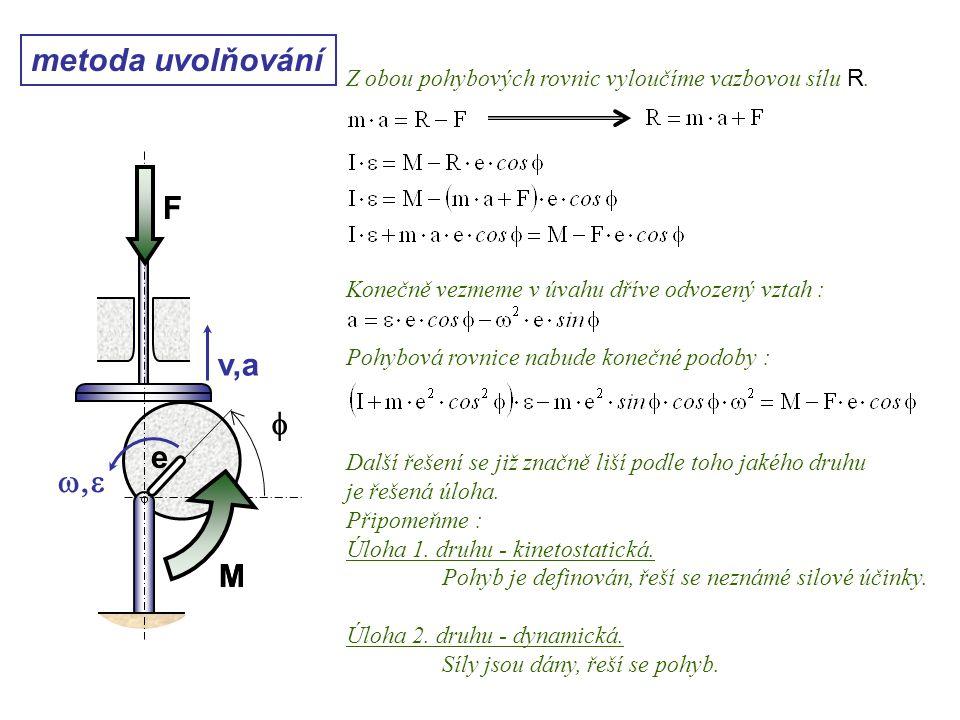 Dynamika I, 10. přednáška metoda uvolňování Z obou pohybových rovnic vyloučíme vazbovou sílu R. Konečně vezmeme v úvahu dříve odvozený vztah : Pohybov