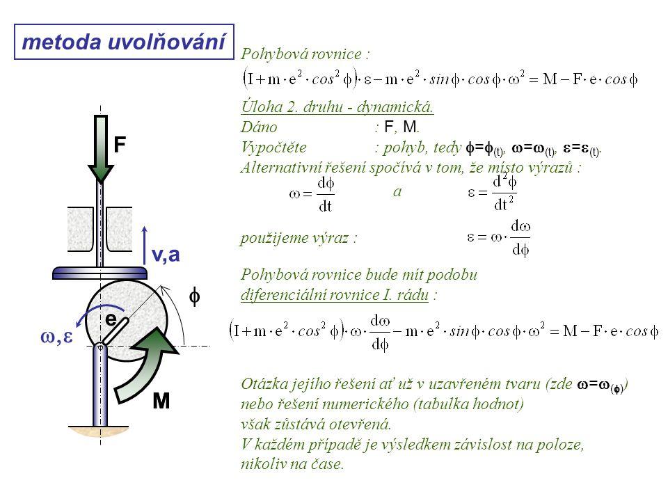 Dynamika I, 10. přednáška metoda uvolňování Pohybová rovnice : Úloha 2. druhu - dynamická. Dáno: F, M. Vypočtěte: pohyb, tedy  =  (t),  =  (t), 