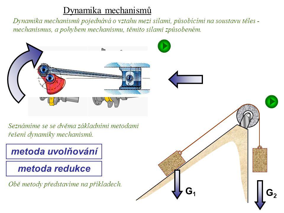 Dynamika I, 10. přednáška metoda uvolňování metoda redukce Dynamika mechanismů pojednává o vztahu mezi silami, působícími na soustavu těles - mechanis